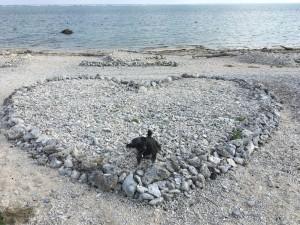 白保海岸のおっきなハート まだキレイに残っています
