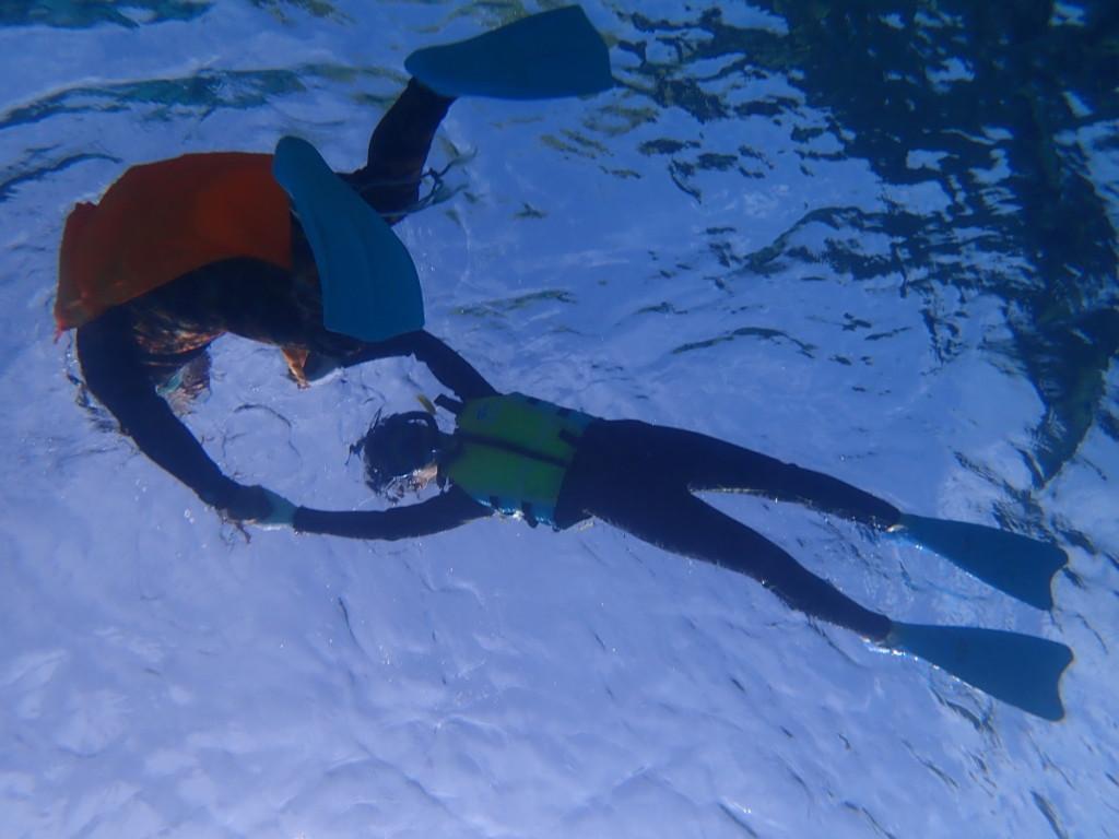 人生初泳いだのは今日の白保の海 不安がなくなるまでサポートします( •̀ᴗ•́ )و ̑̑